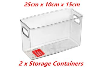 2 x Rectangle Tall Crystal Clear Plastic Fridge Pantry Storage Container Box Handle