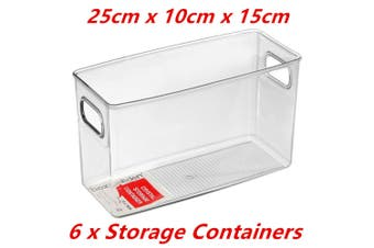6 x Rectangle Tall Crystal Clear Plastic Fridge Pantry Storage Container Box Handle