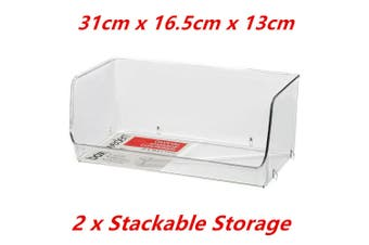 2 x Stackable Crystal Clear Plastic Organiser Fridge Pantry Storage Container 31x16c