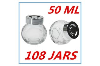 108 x MINI CLEAR GLASS SPICE JAR JARS WITH SILVER LIDS 50ML KITCHEN STORAGE PARTY