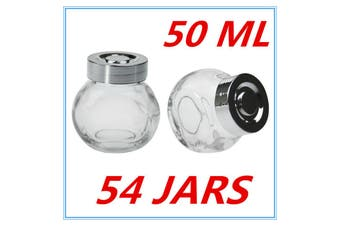 54 x MINI CLEAR GLASS SPICE JAR JARS WITH SILVER LIDS 50ML KITCHEN STORAGE PARTY