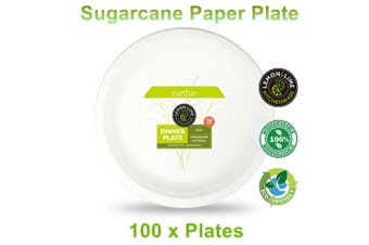 100 x Eco Paper Plate 23CM Sugarcane Compostable Biodegradable Catering Party Bulk
