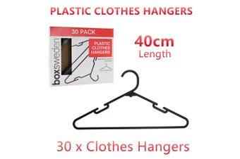 30x Plastic Black Clothes Hangers Large 40cm Adult Cloth Coat Shirt Clothing