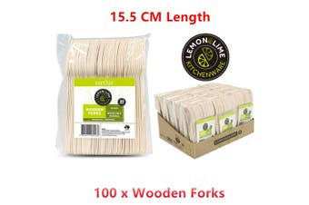 100 x Eco Wooden Forks 15.5cm Disposable Biodegradable Compostable Cutlery Party Cater