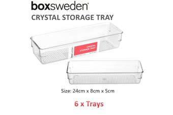 6 x Crystal Clear Acrylic Storage Tray 24X8X5CM Plastic Organiser Container Desk Box