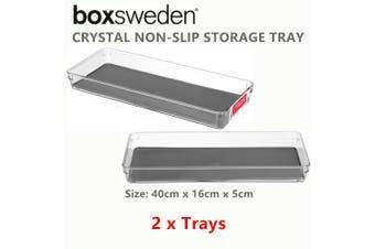 2 x Crystal Acrylic Non Slip Storage Tray 40X16CM Plastic Organiser Container Box