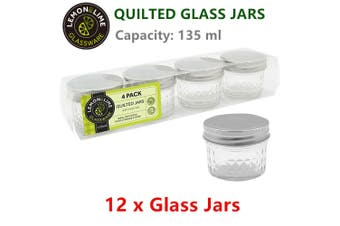 12 x 135ML Glass Conserve Jars Spice Jam Honey Candy Food Storage Lid Container
