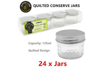 24 x Quilted Conserve Glass Jars Preservation Jar Jam Honey Food Storage Container