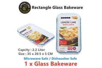 Glass Baking Dish 35x20CM Oven Safe Bakeware Pie Bake Tray Casserole Cooking