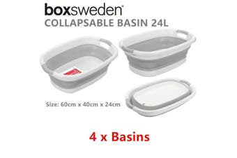 4 x 24L Plastic Collapsible Wash Basin 60X40CM Cleaning Tub Laundry Kitchen Basket