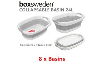 8 x 24L Plastic Collapsible Wash Basin 60X40CM Cleaning Tub Laundry Kitchen Basket
