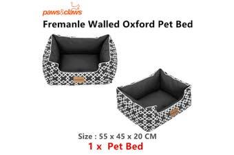 Dog Bed Black Soft Oxford Mattress Puppy Pet High Wall Comfort Basket 55x45x20cm