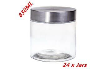 24 x 830ml Glass Jars with Lid Kitchen Glass Storage Biscuit Cookie Spice Jar FD