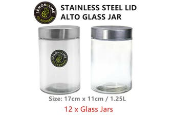 12 x 1250ml Glass Jars with Metal Lid Kitchen Storage Jar Canisters Containers d