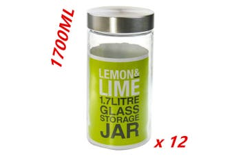 12 x 1700ml Glass Storage Canister Jars with Lid Kitchen Biscuit Cookie Jar DDF