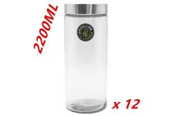 12 x 2200ml Glass Jars with Lid Glass Storage Jars Kitchen Biscuit Cookie Jar DD