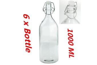 6 x 1000ML Round Glass Water Bottle 1L Clip Top Bottle Flip Top Glass Bottles