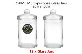 12 x 750ML Glass Apothecary Jar Round 18x10cm Storage Container Food Snack Candy Can