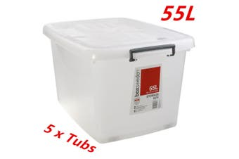 5 x 55L Heavy Duty Large Plastic Storage Tubs 55L Crate Containers Tub Lid