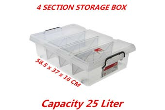 25L Clear Plastic Storage Box with Removable Dividers Containers Bin Tubs