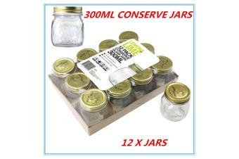 12 x Gold Lid Glass Storage Jar 300ml Wedding Favours Kitchen Conserve Jam Spice