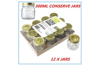 12 x Gold Lid Glass Storage Jar 300 ml Wedding Favors Kitchen Conserve Jam Spice Jars