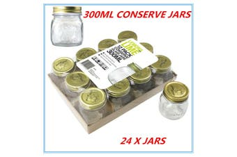 24 x Gold Lid Glass Storage Jar 300 ml Wedding Favors Kitchen Conserve Jam Spice Jars