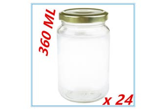 24 x Screw Top Round Favours Lolly Candy Conserve Jam Preserving Jar 360ml Glass Jars