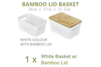 Small White Bamboo Lid Basket 26x17CM Plastic Storage Container Organiser Bin Toys