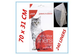 240 X Cat Kitty Litter Liners Scented Bags Liner White PAWS N CLAWS BULK BUY FW