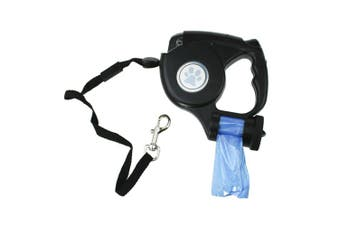 Heavy Duty Retractable Dog Pet Leash Lead with Light and Clean Up Bags Dispenser