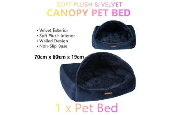 Blue Warm Soft Plush Pet Canopy Bed Dog Cat Walled Cave Mat Igloo House Large