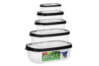 Black Set of 5 Food Meal Prep Container Lunchbox Plastic Small Large Microwave Bento