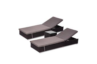 Borocay Wicker Sunbed Package with Side Table - Black - Black