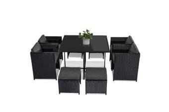 Horrocks 8 Seater Outdoor Dining Set – Black - Black