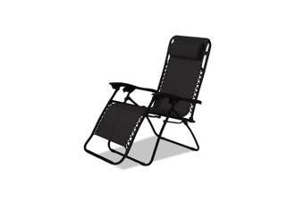 Zero Gravity Lounge Outdoor Portable Textilene Recliner – Black - 1