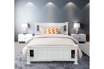 Double Solid Pine Timber Bed Frame - White