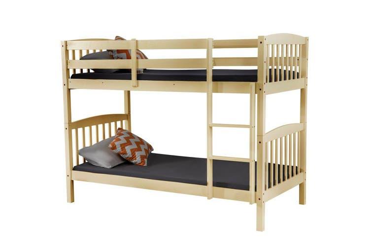 2 In 1 Solid Pine Single Timber Bunk Bed Frame Natural Matt Blatt