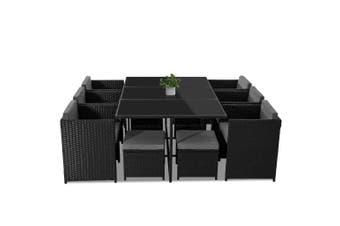 Bali 11 Piece Outdoor Dining Set - Black