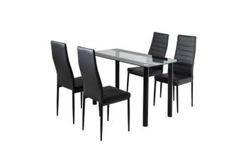 5PC Indoor Dining Table and Chairs Dinner Set Glass Leather Kitchen-Mix Black