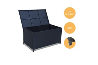 Outdoor PE Wicker Storage Box Garden 320L-Black