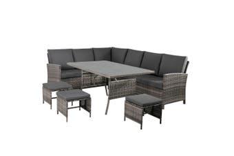 9 Seater Outdoor PE Wicker Lounge Dining Set-Grey