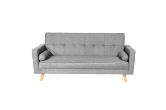 Linen Fabric 3 Seater Sofa Bed Recliner Futon Lounge Couch Wood Legs-Light Grey