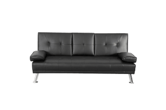 3 Seater Sofa Bed Lounge Recliner Couch with Cup Holder Pu Leather Black