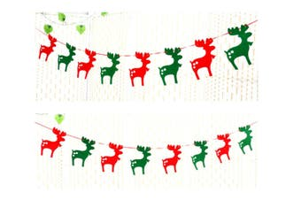 2 Pack Of Christmas Banner Burlap Christmas Party Bunting Garland For Outdoor Indoor Decorations Deer