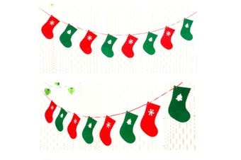 2 Pack Of Christmas Banner Burlap Christmas Party Bunting Garland For Outdoor Indoor Decorations Socks