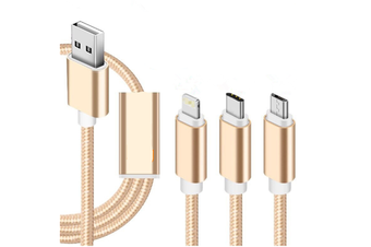 3-In-1 Nylon Braided Tangle-Free Fast Charging Cable And Data Transfer Gold 1M