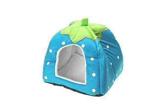 Strawberry Style Sponge House Pet Bed Dome Tent Warm Cushion Basket Blue M