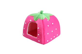 Strawberry Style Sponge House Pet Bed Dome Tent Warm Cushion Basket Pink S