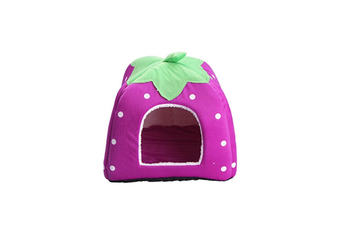 Strawberry Style Sponge House Pet Bed Dome Tent Warm Cushion Basket Purple M
